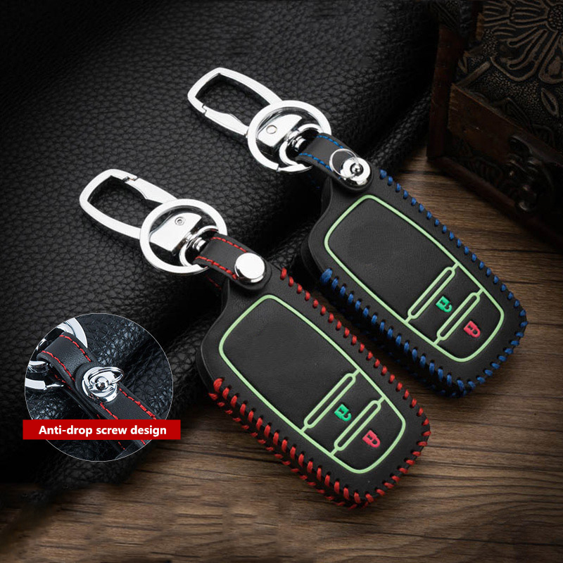 Image 4 - Hand sewing Luminous Leather Remote car Key Cover Case For Toyota CHR C HR Prado 2017 2018 Prius Camry Corolla RAV4 2018 Protect-in Key Case for Car from Automobiles & Motorcycles