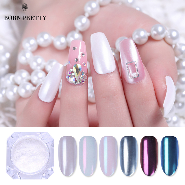 Polvo de pigmento de brillo de uñas de espejo bonito nacido 1g oro azul púrpura polvo manicura uñas arte brillo cromo polvo decoraciones