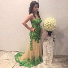 Sexy Arabisch Mermaid Abendkleid 2016 Grün Appliques Lange Formale Abendkleider Hohlkreuz Vestidos De Baile