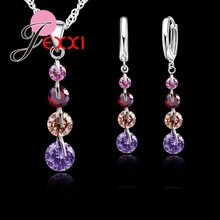 Elegant 925 Sterling Silver Austrian Crystal Bridal Wdding Jewelry Set For Women Tassel Long Pendant Necklace Earring Set(China)