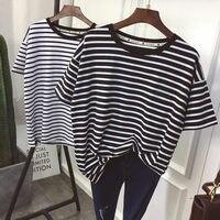 YouGeMan футболка женская летняя одежда корейский стиль Ulzzang Harajuku полосатый короткий рукав футболки женские повседневное Базовая рубашка Топ