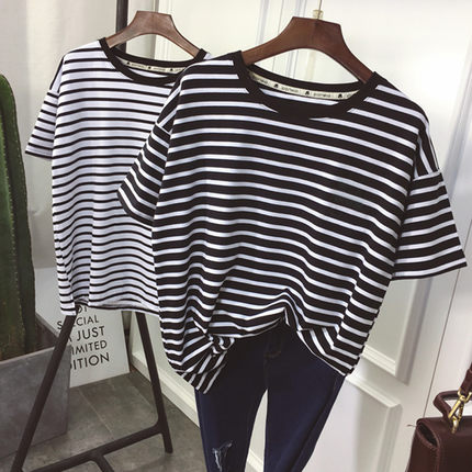 YouGeMan T-shirt Women Summer Clothing Korean Style Ulzzang Harajuku Striped Short Sleeve T-shirts Woman Casual Basic Shirt Top