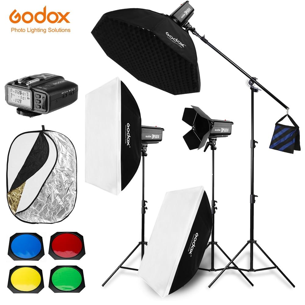 Free DHL 1800W Godox DP600 II 3x 600Ws Photo Studio Flash Lighting Softbox Light Stand Studio
