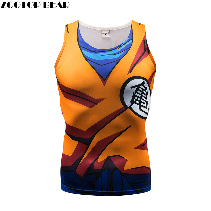 Tank     Tops   Men Cartoon vest super saiyan Dragon Ball singlets Fitness   Tops   Tees Waistcoat Casual Pullover Bodybuilding ZOOTOP BEA