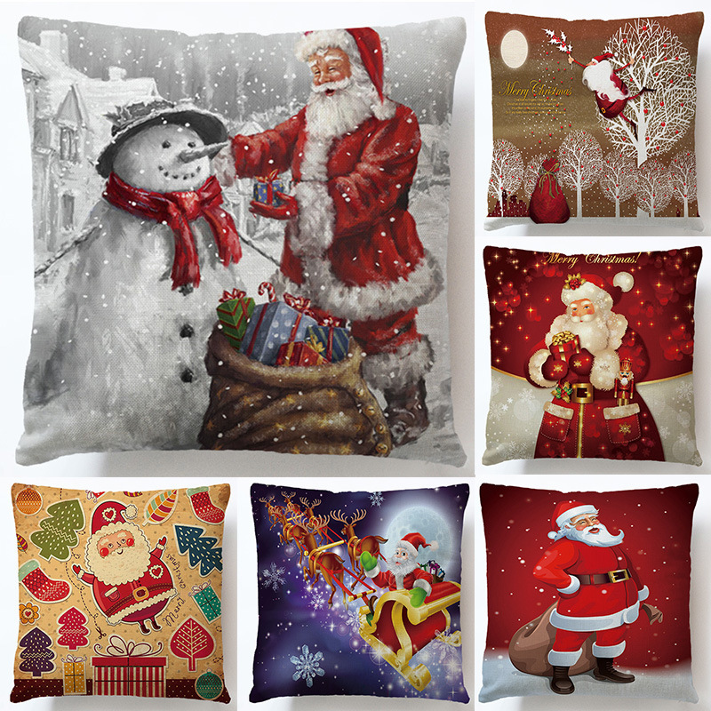 Santa Claus Decorative Pillowcase Christmas Tree Anime Pillow Covers Cushion Home Textile Restaurant Automobile Seat Accessories in Pillow Case from Home Garden