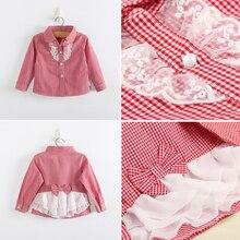 Модные клетчатые блузы для девочек рубашки с длинными рукавами для девочек хлопковые рубашки детские кружевные рубашки с бантом