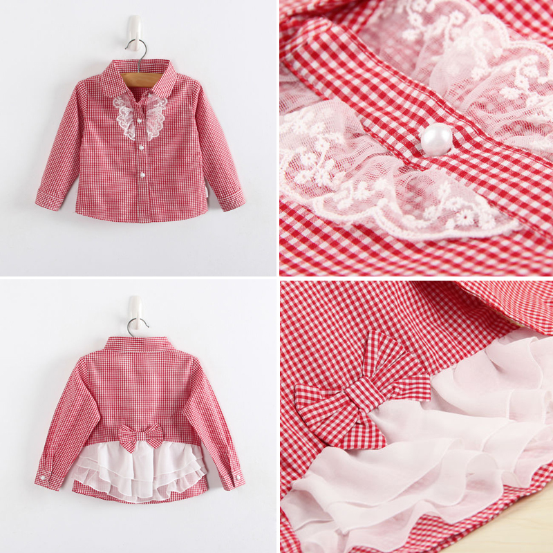 Girls Fashion Plaid Blouses Long Sleeves Shirts For Girls Children Cotton Shirts Kids Lace Bowknot Shirts blue lace up design chimney collar cold shoulder long sleeves t shirts