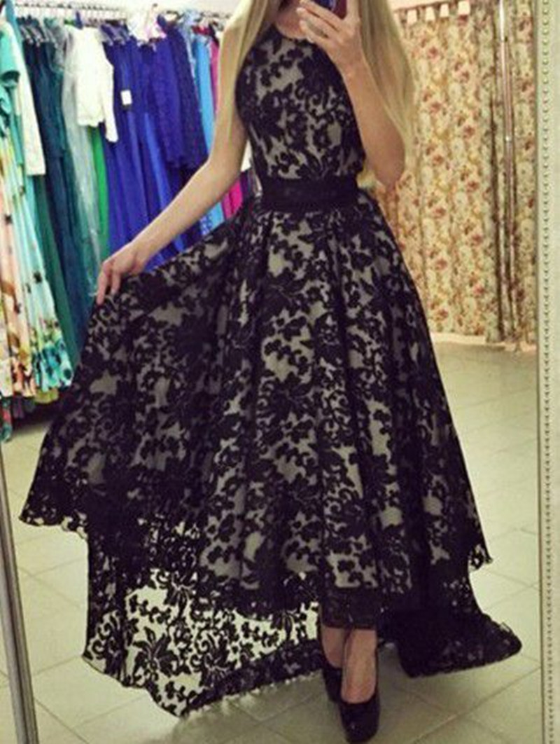 Sexy Black Lace A Line Prom Dresses 2018 Evening Dress Spaghetti Straps Long Party Dresses Robe De Soiree Arabic M22191(China)