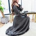 New  women winter long dress hight quality rabbit fur fashion Elegant solid Vintage Women Long Sleeve Office dress