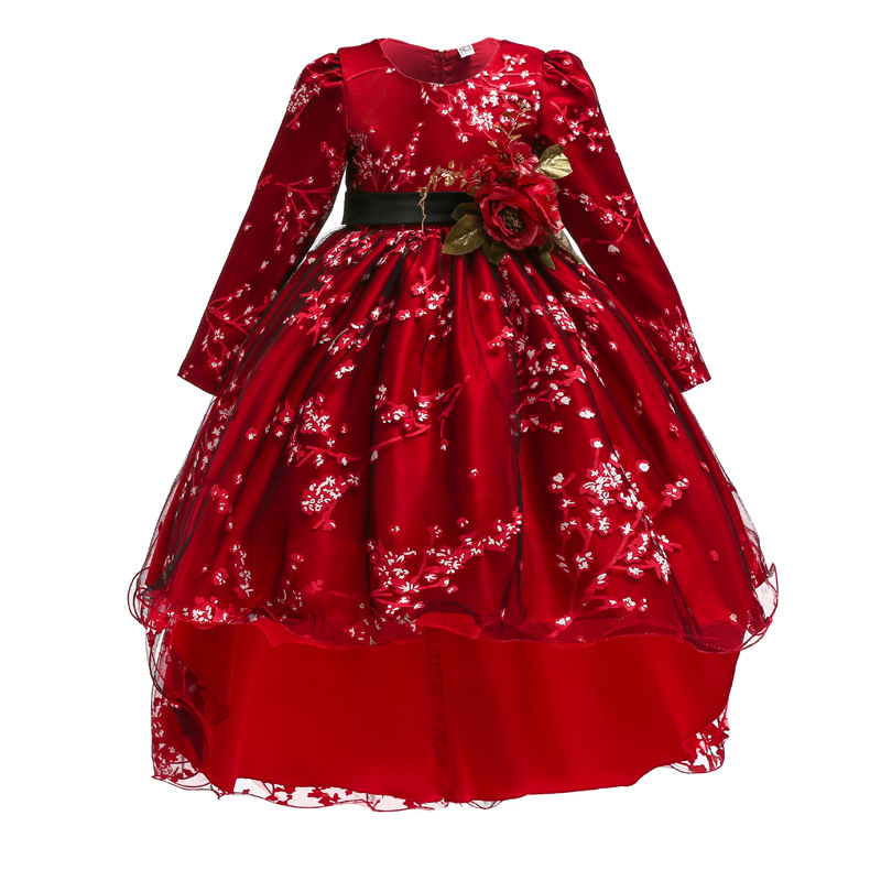 Trailer Flower Girls Party Dress Ball Gown For Kids Princess Dress Baby Costume First Communion Tutu Dresses Vestido Costume