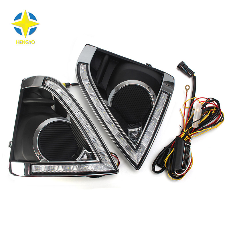 Turn Signal and dimming style Relay 12V car LED DRL Daytime Running Lights for Toyoya yaris 2013-2015 with fog lamp hole fog lamp turn signal style relay led car drl daytime running lights for t oyota h ighlander 2012 2015 waterproof abs