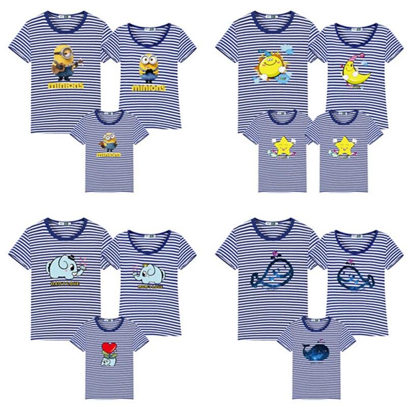 Neue Familie Gestreiften Sommer Kurz-hülse T-shirt Passenden Familie Kleidung Outfits Mutter Tochter Vater Sohn baby kleidung sailor