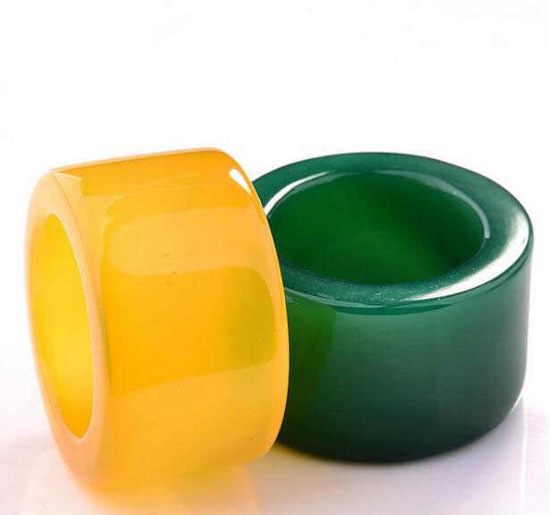 Pure Natural 4 สี Jades Banzhi แหวน Chalcedony แหวนขนาดใหญ่คริสตัลผู้หญิงผู้ชายเครื่องประดับหิน