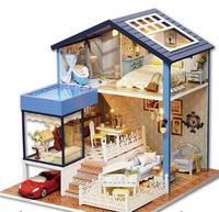 A061 Diyบ้านไม้Miniatura 3Dรุ่นวิลล่าชุดบ้านตุ๊กตาขนาดเล็กของ