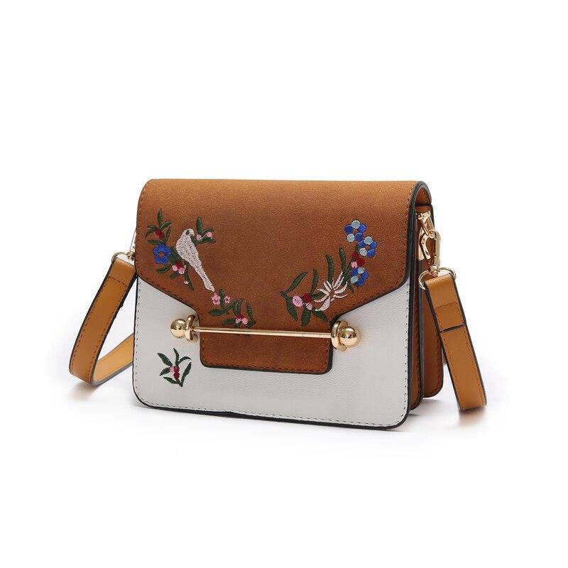 Animal bird National Embroidery Flower Mini bag Iron bars Cover Magnetic buckle handbag Women pu Girl Handbag Fashion Female Bag