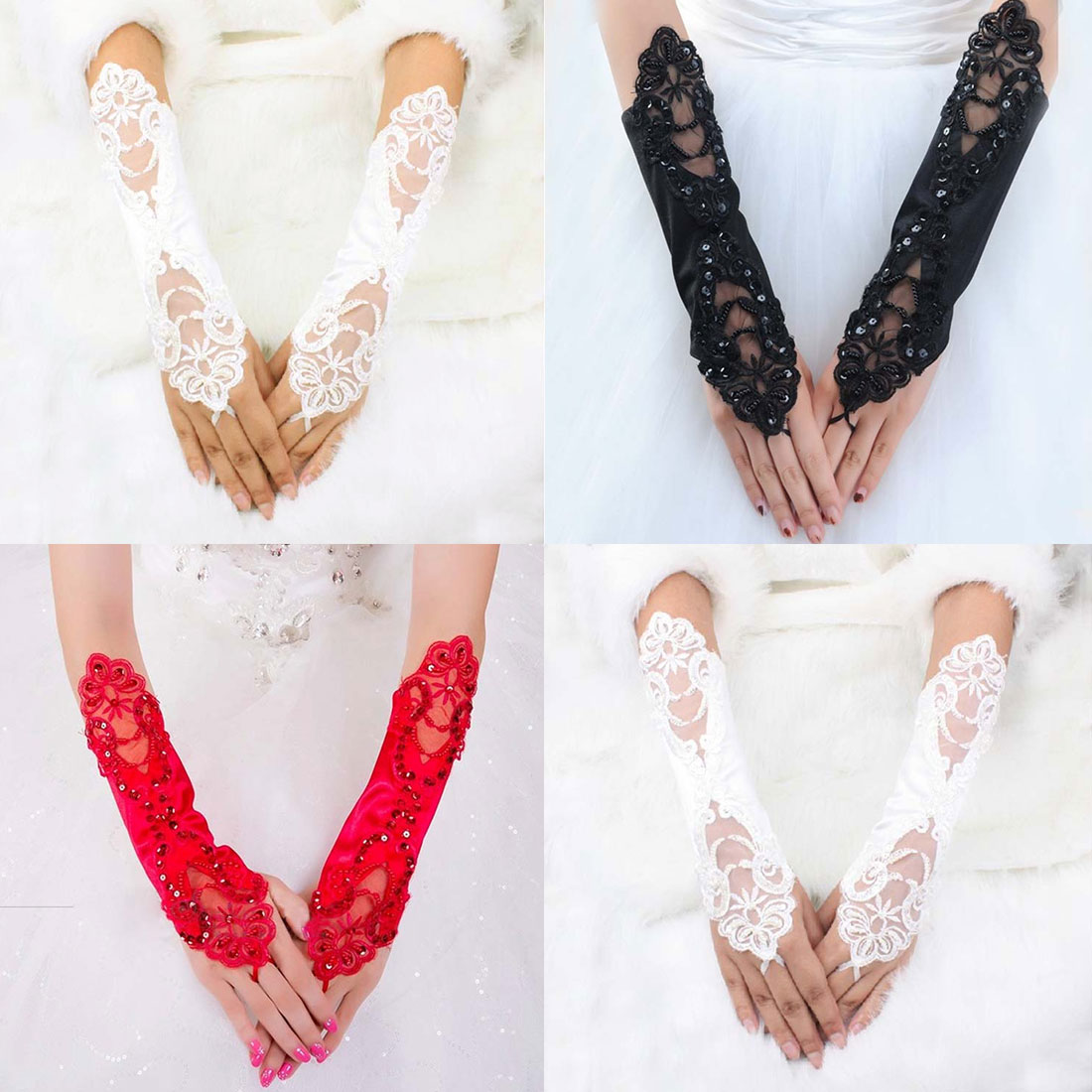 1 Pair Women Bride Long Lace Arm Elbow Gloves Lace Fingerless Gloves Black Whites in Women 39 s Gloves from Apparel Accessories