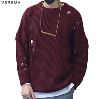 VERSMA 2017 Korean Harajuku Winter Ripped Ugly Christmas Sweater Men Pullover Hip Hop Torn Oversized Knitted