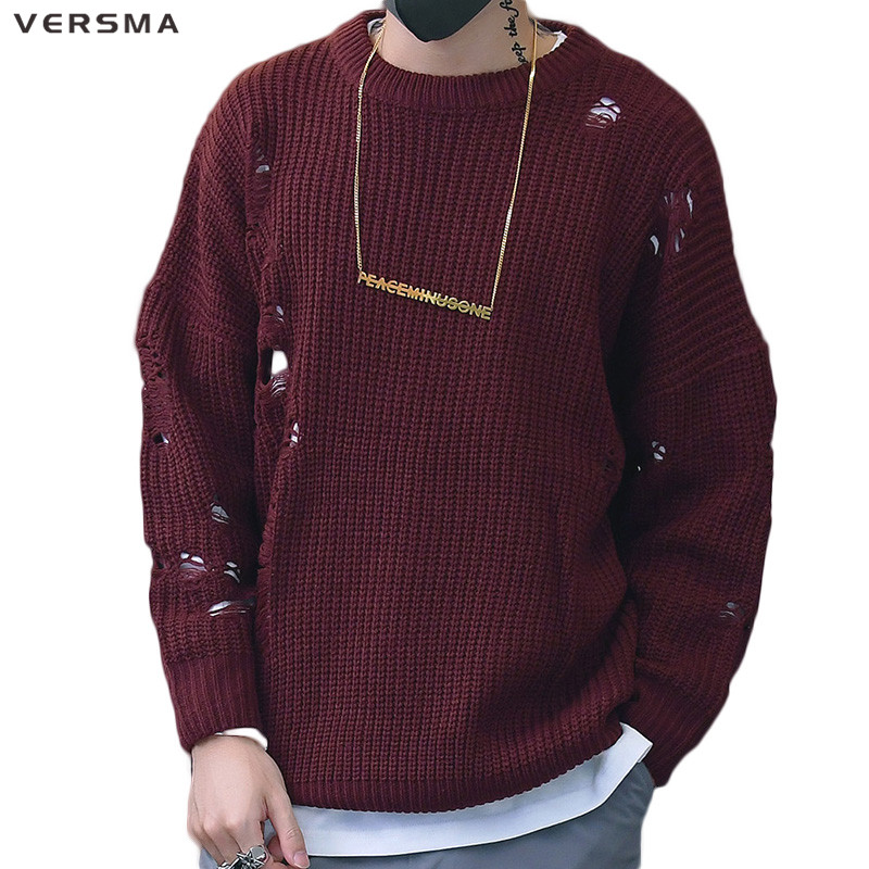 Versma 2017 Korean Harajuku Winter Ripped Ugly Christmas Sweater Men