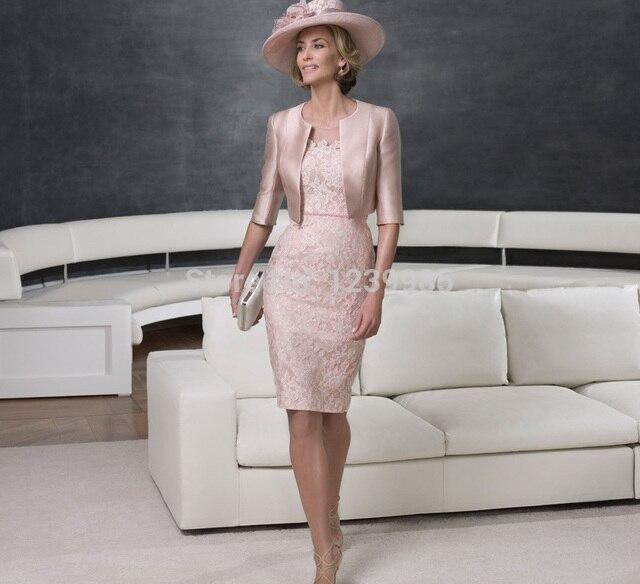 2015 Мать Невесты Платья Оболочка Колен Шампанское Кружева С Курткой Короткие Мать Платья Вечерние Платья Для Свадеб