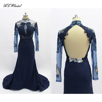 Navy Blue Long Sleeve Backless Mermaid Evening Dress 2018 High Neck Sweep Train Beaded Sheer Formal Prom Party Gowns