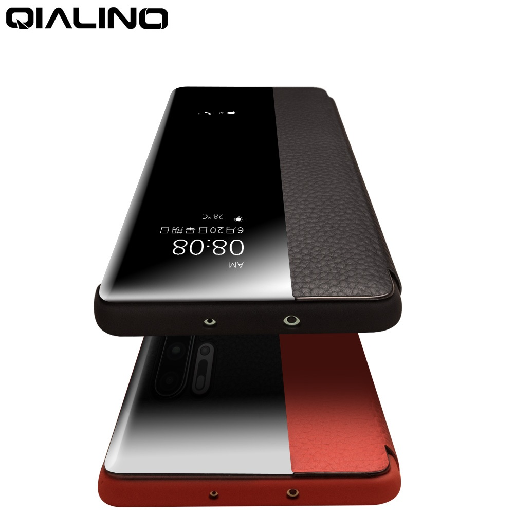 QIALINO Luxury Genuine Leather Phone Case for Huawei P30 Pro Ultra Slim Mirror Smart View Wake Sleep Up Cover for Huawei P30QIALINO Luxury Genuine Leather Phone Case for Huawei P30 Pro Ultra Slim Mirror Smart View Wake Sleep Up Cover for Huawei P30