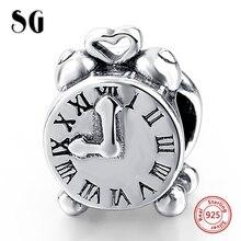 Фотография MANBU Authentic 925 Sterling Silver Alarm Clock Charms Fit Original Charm Bracelets Bangles Diy Jewelry Gift