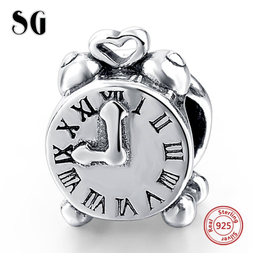 Fit Authentic Pandora Charms Bracelet Silver 925 Original Alarm Clock Charms Beads for Women Berloque Sterling Silver Jewelry