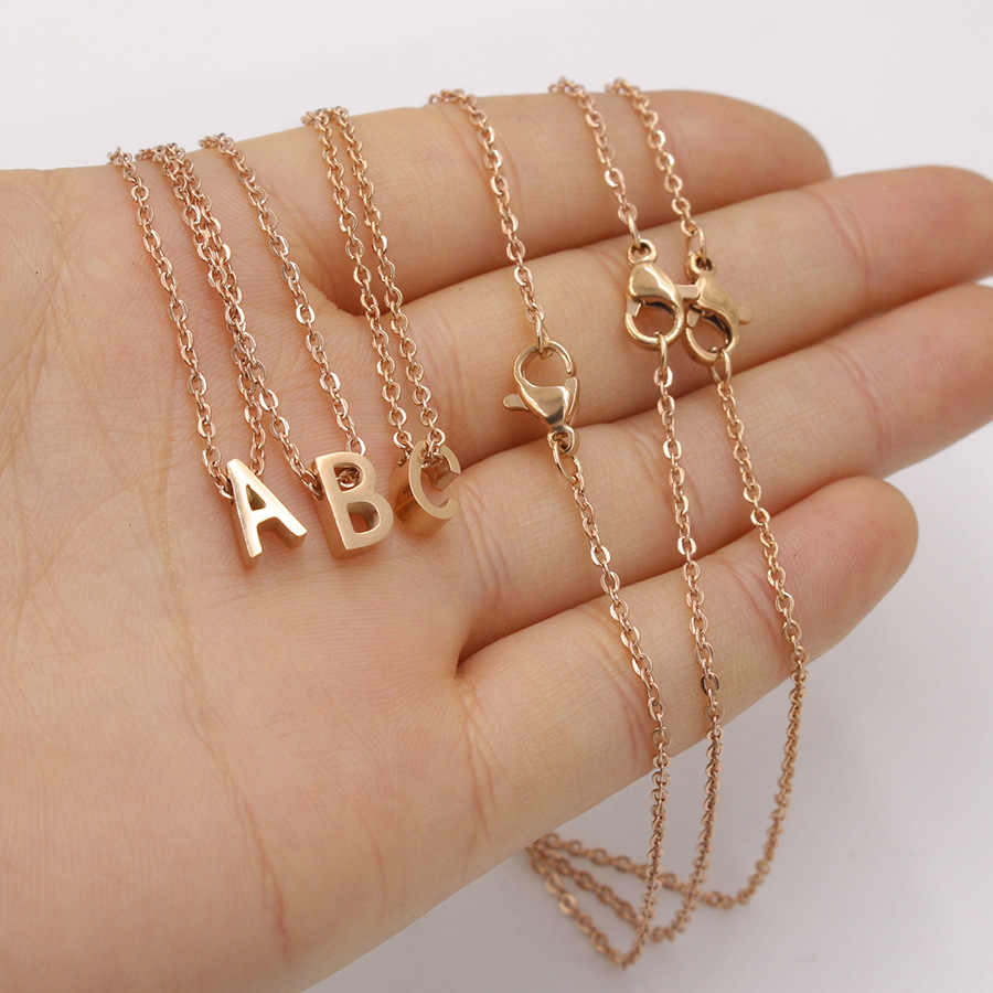 New Rose Gold Silver Tiny Initial Name Choker Necklace Titanium Steel 26 Letters Pendant Necklaces Women Collares Gifts Jewelry