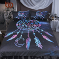 BeddingOutlet Snowflake Bedding Set Queen Dreamcatcher in the Night Duvet Cover Boho Feathers Bedclothes 3pcs Galaxy Bed Set