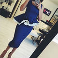 2016 Sexy Blue Short Party Dress Ruffles Simple Girl's Fashion Party Gown Vestido Curto Tank Cocktail Dresses Free Shipping