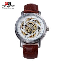 TEVISE Automatic Mechanical Watches Men Brand Luxury White Black Case Genuine Leather Skeleton Watch Relogios Masculino