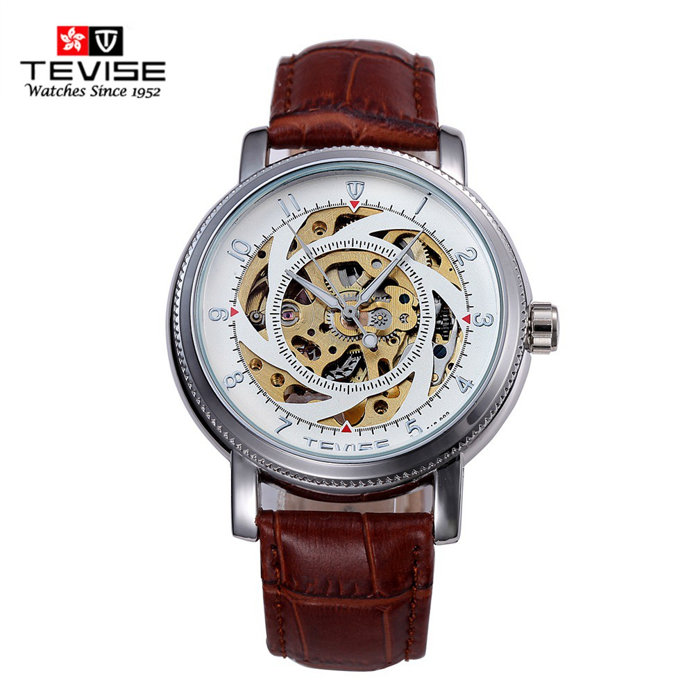 TEVISE Automatic Mechanical Watches Men Brand Luxury White/Black Case Genuine Leather Skeleton Watch relogios masculino ultra luxury 2 3 5 modes german motor watch winder white color wooden black pu leater inside automatic watch winder