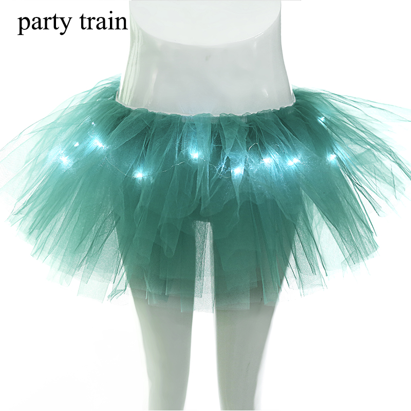 2017 Mesh Women Party Skirts For Performance Dance New Fashion Led Lights Tutu Sexy Light Up Ball Gown Mini Skirt For Girl