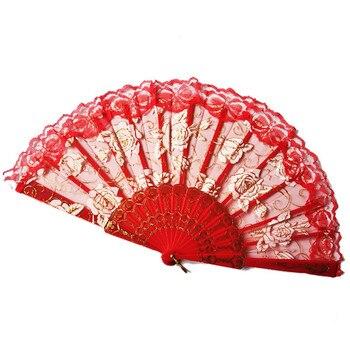 1 piezas estilo chino Ventilador plegable de encaje de mano de Rosa...