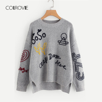 COLROVIE Grey Braided Embroidery Stepped Split Oversized Casual Winter Knitted Sweater Women Pullover Letter Korean Jumper