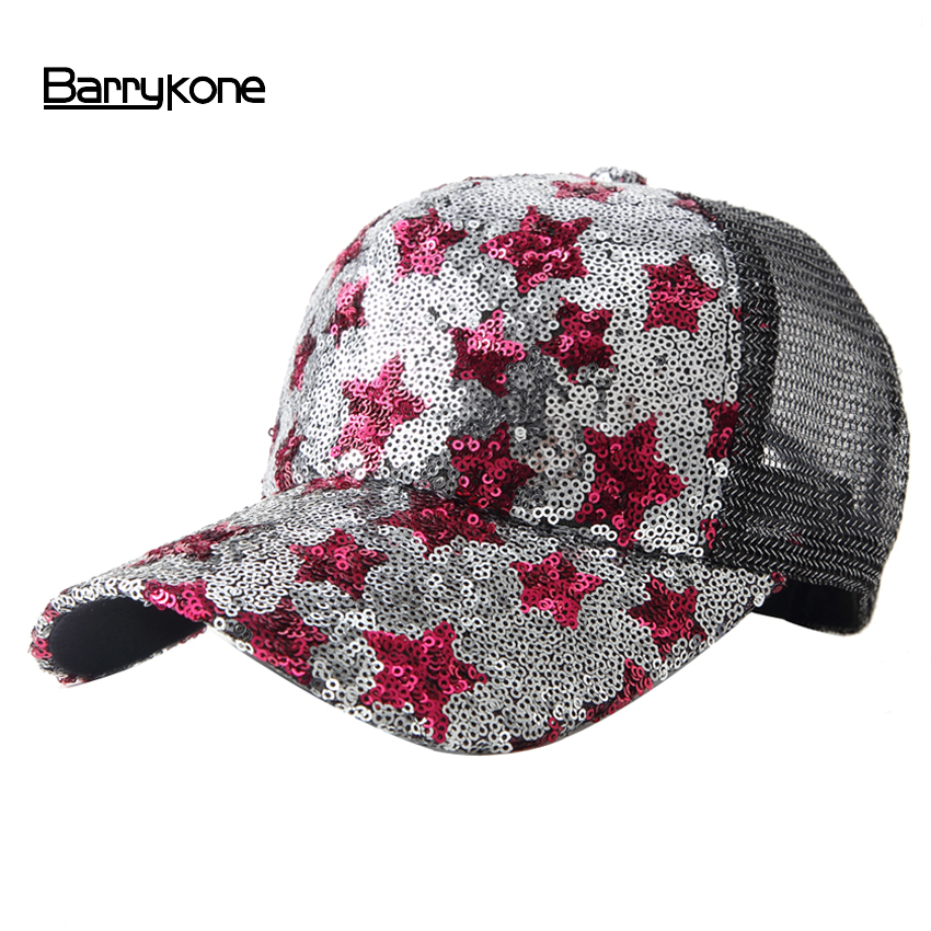 Unisex Baseball Hat 5 Panels Summer Mesh Baseball Cap Sequins Stars Caps Snapback Casquette Men Women Casual Gorras Sun Hats aetrue snapback men baseball cap women casquette caps hats for men bone sunscreen gorras casual camouflage adjustable sun hat