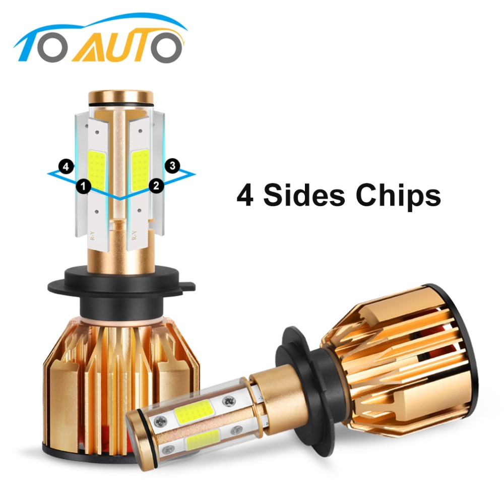 4 lados LED faro H4 H7 H8 H11 HB3 9005 HB4 9006 bombillas LED Canbus Error gratuito 80 W 10000LM 6500 K de la cabeza de la lámpara 12 V 24 V