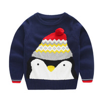 Kids Christmas Pompom Cottons Boys Sweaters Penguin Pattern Knitted Pullover Children Cardigans Infantil Baby Warm Knitwear