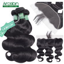 Aircabin hair Body Wave Bundles With Frontal Brazilian Hair Weave Bundles 13x4 Lace Frontal closure With Bundles Non Remy