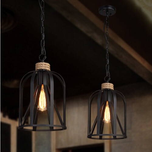 Vintage Loft Style Creative Iron Rope Edison Pendant Lights Fixtures Industrial Hanging Lamp For Bar Dining Room Hanging Lamp new loft vintage iron pendant light industrial lighting glass guard design bar cafe restaurant cage pendant lamp hanging lights