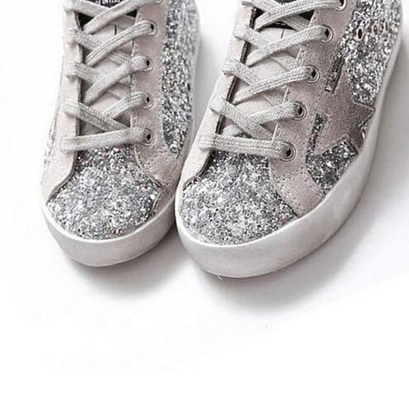 BBK 2017 Goose Superstar Casual Shoes sport star shoes Breathe Shoes Silver Flashing Sneakers genuine leather