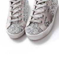 BBK 2016 Goose Superstar Casual Shoes Sport Star Shoes Breathe Shoes Silver Flashing Sneakers Genuine Leather