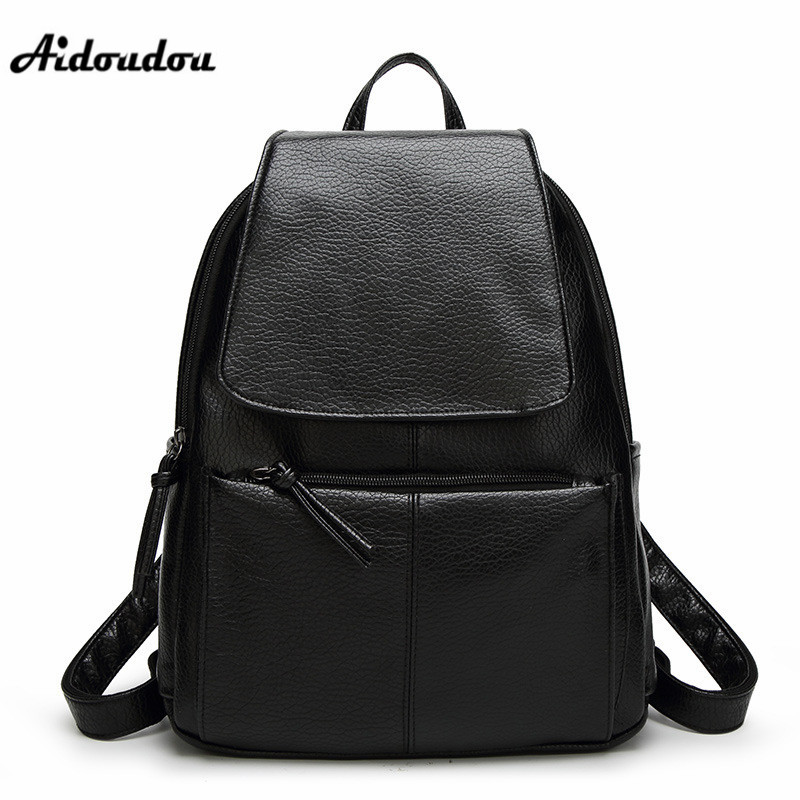 AIDOUDOU Hot Sale Women Backpack Shoulder Bag Fashion School Bags for Girls High Quality Women Bag PU Leather Backpacks 2018 hot sale pu leather backpack women backpack fashion black backpacks for teenage girls school bags famous brand women bag