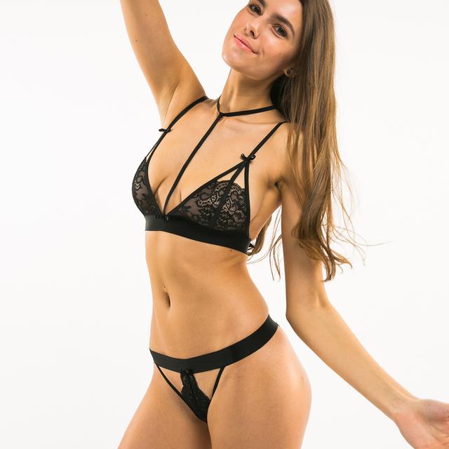 Missomo 2017 New Fashion Women Black Sexy Lace Bralette Bow Cut Out Panties Halter Jacquard Underwear Soft Choker Bra Sets