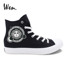 Wen Design Sun's Face Solar Constellation Black Shoes Casual Man White Woman Canvas Sneakers High Top Adult Boy Girl's Flattie wen hand painted orange shoes design western style food lobster pimento tomato custom unisex canvas high top sneakers flattie