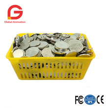 Big size coin box game box multi colors durable plastic basket game machine parts 500 pcs coins available wholesale