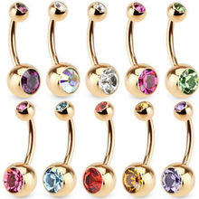 828 Hot New Fashion Hot Selling 1 Pc Unisex 9 Colors Charm Golden Crystal Ring Body Piercing Jewelry Navel Belly Button(China)