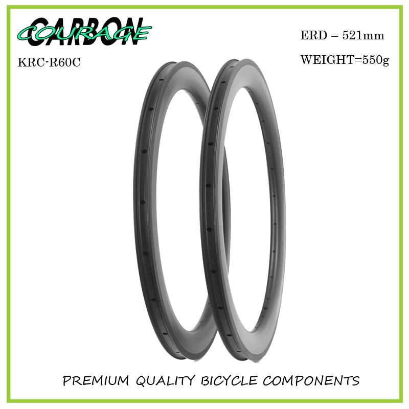 Good quality 700C clincher road carbon bike rim 60mm fixie rims road bicycle rims U shape