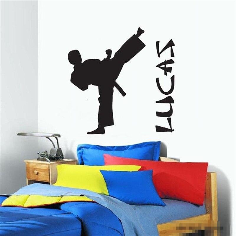 Vinilos Parede Персонализированные мальчик имя DIY виниловые наклейки на стены Котировки детский Обувь для мальчиков каратэ тхэквондо стены Стике...