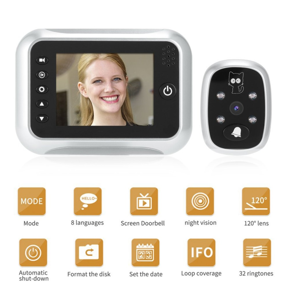 3.5inch LCD T115 Color Screen Doorbell Viewer Digital Door Peephole Viewer Camera Door Eye Video record 120 Degrees Night Vision t115 3 5 lcd color screen doorbell viewer digital door peephole viewer camera door eye video record 120 degrees night vision